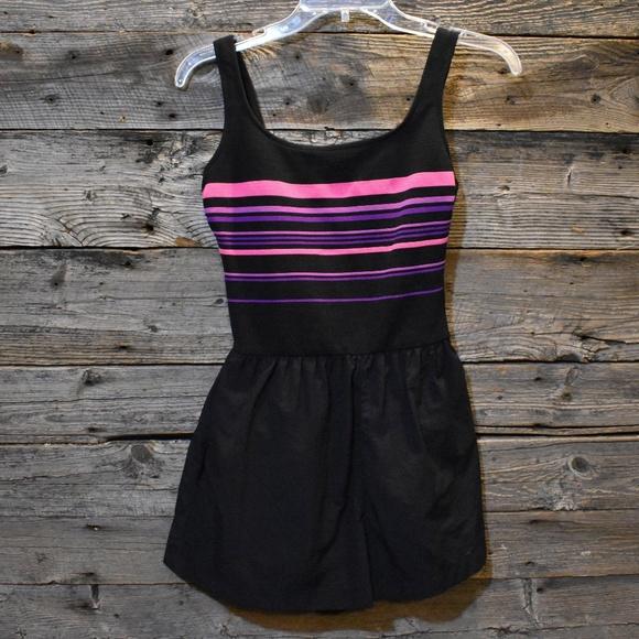 Vintage Other - VTG 80s Black Neon Stripe Swimsuit w/ Shorts 10